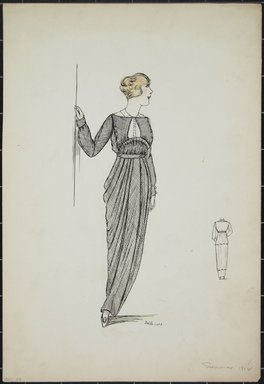 """<em>""""Day dress, Summer 1912. Long grey dress with gathered skirt; open bodice; long sleeves; front gathered under bust; white under blouse; back view included. (Bendel Collection, HB 001-26)""""</em>, 1912. Fashion sketch, 12.25 x 8.5 in (31.1 x 21.6 cm). Brooklyn Museum, Fashion sketches. (Photo: Brooklyn Museum, SC01.1_Bendel_Collection_HB_001-26_1912_PS5.jpg"""