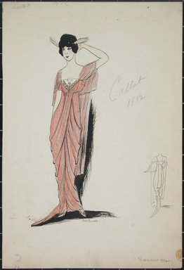 "<em>""Evening dress, Callot, Summer 1912. Long pink dress; attached sheer pink sleeves; butterfly  in front of bodice. back view included. (Bendel Collection, HB 001-27)""</em>, 1912. Fashion sketch, 12.25 x 8.5 in (31.1 x 21.6 cm). Brooklyn Museum, Fashion sketches. (Photo: Brooklyn Museum, SC01.1_Bendel_Collection_HB_001-27_1912_PS5.jpg"