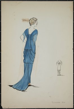 """<em>""""Evening dress, Summer 1912. Long blue dress; draped back, train; short sleeves; sheer blue fabric under sleeves; narrow headband with feather; front view included. (Bendel Collection,HB 001-28)""""</em>, 1912. Fashion sketch, 12.25 x 8.5 in (31.1 x 21.6 cm). Brooklyn Museum, Fashion sketches. (Photo: Brooklyn Museum, SC01.1_Bendel_Collection_HB_001-28_1912_PS5.jpg"""