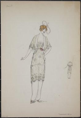 "<em>""Day dress, Premet, Summer 1912. Long white dress; knee length sheer blouse with floral design; loose sleeves; narrow pink waistband with roses; back view included. (Bendel Collection, HB 001-29)""</em>, 1912. Fashion sketch, 12.25 x 8.5 in (31.1 x 21.6 cm). Brooklyn Museum, Fashion sketches. (Photo: Brooklyn Museum, SC01.1_Bendel_Collection_HB_001-29_1912_PS5.jpg"