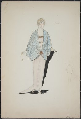 """<em>""""Evening dress and wrap, 1912. Long pink dress with train; light blue wrap with loose sleeves; gold closure in front; back view included. (Bendel Collection, HB 001-30)""""</em>, 1912. Fashion sketch, 12.25 x 8.5 in (31.1 x 21.6 cm). Brooklyn Museum, Fashion sketches. (Photo: Brooklyn Museum, SC01.1_Bendel_Collection_HB_001-30_1912_PS5.jpg"""