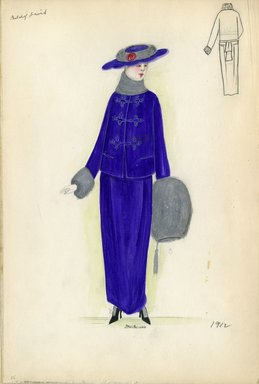 "<em>""Day dress, Belchof David, 1912. Purple dress and jacket with gray fur trim on sleeves and collar; large purple hat with gray fur trim included; gray fur muff with tassel included. (Bendel Collection, HB 002-25)""</em>, 1912. Fashion sketch, 12.25 x 8.5 in (31.1 x 21.6 cm). Brooklyn Museum, Fashion sketches. (Photo: Brooklyn Museum, SC01.1_Bendel_Collection_HB_002-25_1912_SL5.jpg"