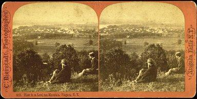 """<em>""""View from Lewiston Mountain, Niagara, N.Y. C. 917.  Bierstadt, photographer. Niagara Falls, N.Y.""""</em>. Stereocard, 7 x 3.5in (17.8 x 9 cm). Brooklyn Museum, Bierstadt. (TR140_B479_N51_view_from_Lewiston_Mountain.jpg"""