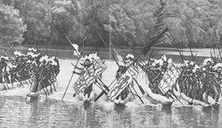 """<em>""""Headhunters of Papua in canoes.""""</em>, 1912. Bw negative 4x5in. Brooklyn Museum. (DU740_Sa8_Headhunters_endpaper_bw.jpg"""