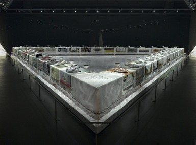 The Dinner Party by Judy Chicago (installation), March 23, 2007 through Current (Image: 2002.10_DIG_E2007_Dinner_Party_05_PS2.jpg Brooklyn Museum photograph, 2007)