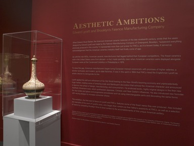 Aesthetic Ambitions: Edward Lycett and Brooklyn's Faience Manufacturing Company, May 3, 2012 through June 16, 2013 (Image: DIG_E_2012_Aesthetic_Ambitions_01_PS4.jpg Brooklyn Museum photograph, 2012)
