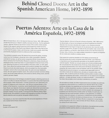 Behind Closed Doors: Art in the Spanish American Home, 1492–1898, September 20, 2013 through January 12, 2014 (Image: DIG_E_2013_Behind_Closed_Doors_37_PS4.jpg Brooklyn Museum photograph, 2013)