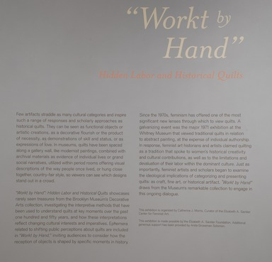 'Workt by Hand': Hidden Labor and Historical Quilts, March 15, 2013 through September 15, 2013 (Image: DIG_E_2013_Workt_by_Hand_024_PS4.jpg Brooklyn Museum photograph, 2013)