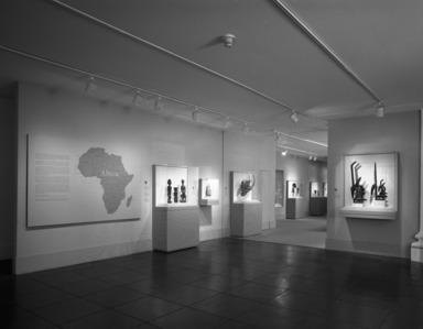 African Art (installation). [--/--/1989 - --/--/1989]. Installation view: map of Africa.