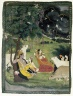 Krishna and Radha under a Tree in a Storm