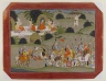 Battle between Lava and Rama's brother, Shatrughna, near the hermitage of Valmiki, Page from a Dispersed Ramayana Series