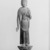 <em>Small Figure of the Bodhisattva Sho Kannon (Avalokiteshvara)</em>, ca. 1100. Wood, gesso, and paint, 19 1/4 x 6 1/8 in. (48.9 x 15.5 cm). Brooklyn Museum, Brooklyn Museum Collection, 05.106. Creative Commons-BY (Photo: Brooklyn Museum, 05.106_front_acetate_bw.jpg)