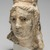 Graeco-Egyptian. <em>Female Head</em>, 1st century B.C.E.-1st century C.E. Limestone, stone, pigment, 14 x 10 1/4 in. (35.5 x 26 cm). Brooklyn Museum, Gift of Evangeline Wilbour Blashfield, Theodora Wilbour, and Victor Wilbour honoring the wishes of their mother, Charlotte Beebe Wilbour, as a memorial to their father, Charles Edwin Wilbour, 16.236. Creative Commons-BY (Photo: Brooklyn Museum, 16.236_threequarter_at_PS11.jpg)