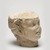 Roman (?). <em>Head of a Faun</em>, 1st-2nd century C.E. Marble, 7 11/16 x 6 1/16 in. (19.5 x 15.4 cm). Brooklyn Museum, Gift of Evangeline Wilbour Blashfield, Theodora Wilbour, and Victor Wilbour honoring the wishes of their mother, Charlotte Beebe Wilbour, as a memorial to their father, Charles Edwin Wilbour, 16.630. Creative Commons-BY (Photo: Brooklyn Museum, 16.630_threequarter_PS11.jpg)