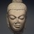 <em>Head of Buddha</em>, 5th century. Red sandstone, 13 × 7 1/2 × 7 in. (33 × 19.1 × 17.8 cm). Brooklyn Museum, Gift of Georgia and Michael de Havenon, 1998.178.4. Creative Commons-BY (Photo: Brooklyn Museum, 1998.178.4_transp4537.jpg)