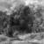 Arnold Böcklin (Swiss, 1827-1901). <em>Roman Landscape (Römische Landschaft)</em>, 1852. Oil on canvas, 29 5/16 x 28 1/2in. (74.5 x 72.4cm). Brooklyn Museum, Bequest of A. Augustus Healy, 21.94 (Photo: Brooklyn Museum, 21.94_glass_bw.jpg)