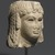 <em>Head of a Queen</em>, 305-30 B.C.E. Marble, 5 5/16 x 4 5/16 x 4 3/4 in. (13.5 x 11 x 12 cm). Brooklyn Museum, Charles Edwin Wilbour Fund, 71.12. Creative Commons-BY (Photo: Brooklyn Museum, 71.12_threequarter_right_PS1.jpg)