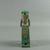 <em>Enthroned Bast Figure</em>, ca. 945-656 B.C.E. Faience, 2 5/8 x 7/8 x 1 9/16 in. (6.7 x 2.3 x 4 cm). Brooklyn Museum, Charles Edwin Wilbour Fund, 37.974E. Creative Commons-BY (Photo: Brooklyn Museum, CUR.37.974E_back01.jpg)