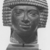 <em>Male Head</em>. Basalt, 4 13/16 x 4 x 4 5/16 in. (12.3 x 10.2 x 11 cm). Brooklyn Museum, Anonymous gift in memory of Mary E. Lever and H. Randolph Lever, 64.1.2. Creative Commons-BY (Photo: , CUR.64.1.2_NegA_print_bw.jpg)