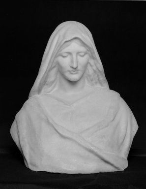 William Ordway Partridge (American, 1861-1930). <em>A Madonna</em>, ca. 1890. Marble, 25 x 24 x 16 in. (63.5 x 61 x 40.6 cm). Brooklyn Museum, Gift of George Foster Peabody, 00.158. Creative Commons-BY (Photo: Brooklyn Museum, 00.158_bw.jpg)