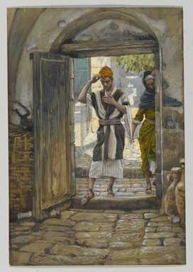 James Tissot (French, 1836-1902). <em>On Entering the House, Salute It (En entrant la maison salue-la)</em>, 1886-1896. Opaque watercolor over graphite on gray wove paper, Image: 7 5/8 x 5 1/4 in. (19.4 x 13.3 cm). Brooklyn Museum, Purchased by public subscription, 00.159.100 (Photo: Brooklyn Museum, 00.159.100_PS2.jpg)