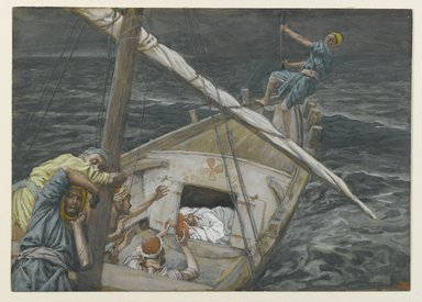 James Tissot (French, 1836-1902). <em>Jesus Sleeping During the Tempest (Jésus dormant pendant la tempête)</em>, 1886-1896. Opaque watercolor over graphite on gray wove paper, Image: 5 1/2 x 7 11/16 in. (14 x 19.5 cm). Brooklyn Museum, Purchased by public subscription, 00.159.101 (Photo: Brooklyn Museum, 00.159.101_PS2.jpg)