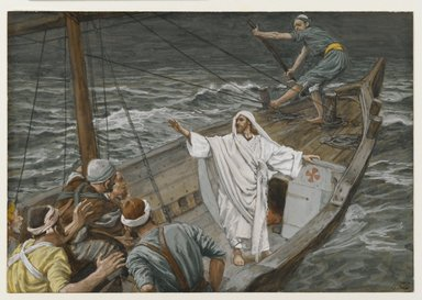 James Tissot (French, 1836-1902). <em>Jesus Stilling the Tempest (Jésus calmant la tempête)</em>, 1886-1894. Opaque watercolor over graphite on gray wove paper, Image: 5 x 7 1/4 in. (12.7 x 18.4 cm). Brooklyn Museum, Purchased by public subscription, 00.159.102 (Photo: Brooklyn Museum, 00.159.102_PS2.jpg)