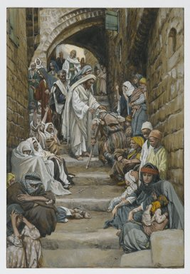 James Tissot (French, 1836-1902). <em>In the Villages the Sick Were Presented to Him (Dans les villages on lui présentait des malades)</em>, 1886-1896. Opaque watercolor over graphite on gray wove paper, image: 10 1/8 x 6 15/16 in. (25.7 x 17.6 cm). Brooklyn Museum, Purchased by public subscription, 00.159.103 (Photo: Brooklyn Museum, 00.159.103_PS2.jpg)