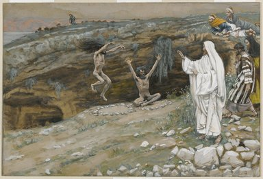 James Tissot (French, 1836-1902). <em>The Two Men Possessed with Devils (Les deux démoniaques)</em>, 1886-1894. Opaque watercolor over graphite on gray wove paper, Image: 6 5/8 x 9 7/8 in. (16.8 x 25.1 cm). Brooklyn Museum, Purchased by public subscription, 00.159.105 (Photo: Brooklyn Museum, 00.159.105_PS1.jpg)