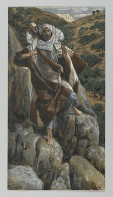 James Tissot (French, 1836-1902). <em>The Good Shepherd (Le bon pasteur)</em>, 1886-1894. Opaque watercolor over graphite on gray wove paper, Image: 11 1/16 x 5 7/8 in. (28.1 x 14.9 cm). Brooklyn Museum, Purchased by public subscription, 00.159.106 (Photo: Brooklyn Museum, 00.159.106_PS2.jpg)