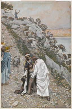 James Tissot (French, 1836-1902). <em>The Swine Driven into the Sea (Les porcs précipités dans la mer)</em>, 1886-1896. Opaque watercolor over graphite on gray wove paper, Image: 10 3/16 x 6 11/16 in. (25.9 x 17 cm). Brooklyn Museum, Purchased by public subscription, 00.159.107 (Photo: Brooklyn Museum, 00.159.107_PS1.jpg)
