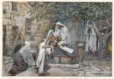 James Tissot (French, 1836-1902). <em>The Daughter of Jairus (La fille de Zäire)</em>, 1886-1896. Opaque watercolor over graphite on gray wove paper, Image: 7 7/16 x 10 7/8 in. (18.9 x 27.6 cm). Brooklyn Museum, Purchased by public subscription, 00.159.108 (Photo: Brooklyn Museum, 00.159.108_PS2.jpg)