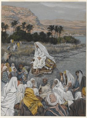 James Tissot (French, 1836-1902). <em>Jesus Sits by the Seashore and Preaches (Jésus s'assied au bord de la mer et prêche)</em>, 1886-1896. Opaque watercolor over graphite on gray wove paper, Sheet: 10 3/16 x 7 9/16 in. (25.9 x 19.2 cm). Brooklyn Museum, Purchased by public subscription, 00.159.109 (Photo: Brooklyn Museum, 00.159.109_PS1.jpg)
