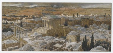 James Tissot (French, 1836-1902). <em>The Pagan Temple Built by Hadrian on the Site of Calvary (Le temple païen construit par Hadrien sur l'emplacement de Calvaire)</em>, 1886-1894. Opaque watercolor over graphite on gray wove paper, Image: 6 5/16 x 13 13/16 in. (16 x 35.1 cm). Brooklyn Museum, Purchased by public subscription, 00.159.10 (Photo: Brooklyn Museum, 00.159.10_PS2.jpg)