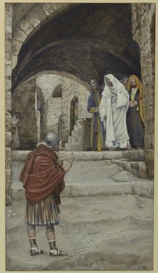 James Tissot (French, 1836-1902). <em>Lord, I Am Not Worthy (Domine Non Sum Dignus)</em>, 1886-1896. Opaque watercolor over graphite on gray wove paper, image: 10 1/4 x 5 11/16 in. (26 x 14.4 cm). Brooklyn Museum, Purchased by public subscription, 00.159.112 (Photo: Brooklyn Museum, 00.159.112_PS1.jpg)
