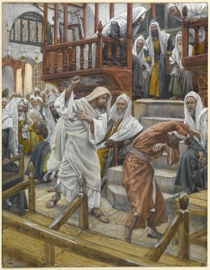 James Tissot (French, 1836-1902). <em>Jesus Chases a Possessed Man from the Synagogue (Jésus chasse un possédé de la synagogue)</em>, 1886-1896. Opaque watercolor over graphite on gray wove paper, Image: 9 3/16 x 7 1/8 in. (23.3 x 18.1 cm). Brooklyn Museum, Purchased by public subscription, 00.159.113 (Photo: Brooklyn Museum, 00.159.113_PS1.jpg)