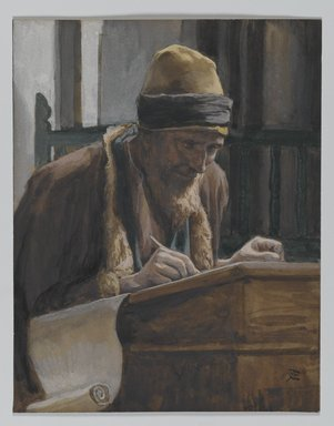 James Tissot (French, 1836-1902). <em>Saint Mark (Saint Marc)</em>, 1886-1894. Opaque watercolor over graphite on gray wove paper, Image: 6 x 4 5/8 in. (15.2 x 11.7 cm). Brooklyn Museum, Purchased by public subscription, 00.159.114 (Photo: Brooklyn Museum, 00.159.114_PS2.jpg)