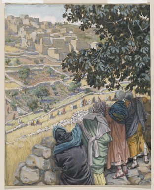 James Tissot (French, 1836-1902). <em>The Disciples Eat Wheat on the Sabbath (Les disciples mangent du blé au sabbat)</em>, 1886-1896. Opaque watercolor over graphite on gray wove paper, Image: 8 1/16 x 6 1/2 in. (20.5 x 16.5 cm). Brooklyn Museum, Purchased by public subscription, 00.159.116 (Photo: Brooklyn Museum, 00.159.116_PS2.jpg)
