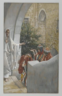 James Tissot (French, 1836-1902). <em>The Canaanite's Daughter (La Chananéenne)</em>, 1886-1896. Opaque watercolor over graphite on gray wove paper, Image: 9 1/16 x 5 9/16 in. (23 x 14.1 cm). Brooklyn Museum, Purchased by public subscription, 00.159.117 (Photo: Brooklyn Museum, 00.159.117_PS2.jpg)