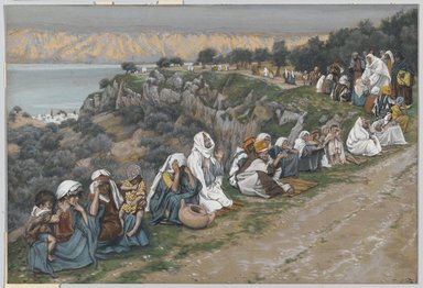 James Tissot (French, 1836-1902). <em>The Sick Awaiting the Passage of Jesus (Les malades attendant le passage de Jésus)</em>, 1886-1894. Opaque watercolor over graphite on gray wove paper, Image: 6 3/8 x 9 5/16 in. (16.2 x 23.7 cm). Brooklyn Museum, Purchased by public subscription, 00.159.118 (Photo: Brooklyn Museum, 00.159.118_PS1.jpg)