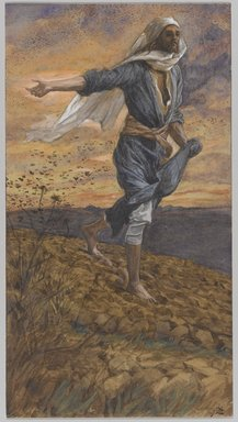 James Tissot (French, 1836-1902). <em>The Sower (Le semeur)</em>, 1886-1894. Opaque watercolor over graphite on gray wove paper, Image: 9 3/4 x 5 3/8 in. (24.8 x 13.7 cm). Brooklyn Museum, Purchased by public subscription, 00.159.119 (Photo: Brooklyn Museum, 00.159.119_PS1.jpg)