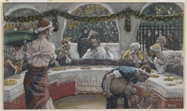 James Tissot (French, 1836-1902). <em>The Meal in the House of the Pharisee (Le repas chez le pharisien)</em>, 1886-1896. Opaque watercolor over graphite on gray wove paper, Image: 4 13/16 x 8 1/8 in. (12.2 x 20.6 cm). Brooklyn Museum, Purchased by public subscription, 00.159.120 (Photo: Brooklyn Museum, 00.159.120_PS2.jpg)