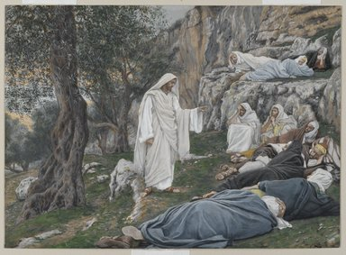 James Tissot (French, 1836-1902). <em>Jesus Commands the Apostles to Rest (Jésus engage les apôtres à se reposer)</em>, 1886-1894. Opaque watercolor over graphite on gray wove paper, Image: 7 1/16 x 9 3/4 in. (17.9 x 24.8 cm). Brooklyn Museum, Purchased by public subscription, 00.159.121 (Photo: Brooklyn Museum, 00.159.121_PS2.jpg)