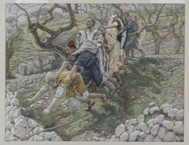 James Tissot (French, 1836-1902). <em>The Blind in the Ditch (Les aveugles dans le fossé)</em>, 1886-1894. Opaque watercolor over graphite on gray wove paper, Image: 7 5/8 x 9 7/8 in. (19.4 x 25.1 cm). Brooklyn Museum, Purchased by public subscription, 00.159.122 (Photo: Brooklyn Museum, 00.159.122_PS2.jpg)