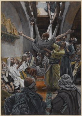 James Tissot (French, 1836-1902). <em>The Palsied Man Let Down through the Roof (Le paralytique descendu du toit)</em>, 1886-1896. Opaque watercolor over graphite on gray wove paper, Image: 9 5/16 x 6 9/16 in. (23.7 x 16.7 cm). Brooklyn Museum, Purchased by public subscription, 00.159.123 (Photo: Brooklyn Museum, 00.159.123_PS1.jpg)