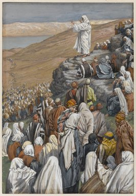 James Tissot (French, 1836-1902). <em>The Sermon of the Beatitudes (La sermon des béatitudes)</em>, 1886-1896. Opaque watercolor over graphite on gray wove paper, Image: 9 5/8 x 6 7/16 in. (24.4 x 16.4 cm). Brooklyn Museum, Purchased by public subscription, 00.159.124 (Photo: Brooklyn Museum, 00.159.124_PS1.jpg)