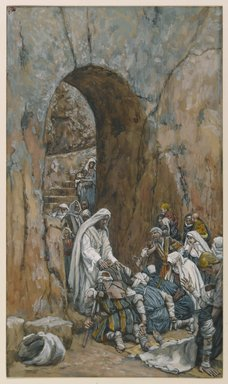 James Tissot (French, 1836-1902). <em>He Did No Miracles But He Healed Them (Il ne fit pas des miracles mais il guérit)</em>, 1886-1896. Opaque watercolor over graphite on gray wove paper, Image: 9 1/2 x 5 1/2 in. (24.1 x 14 cm). Brooklyn Museum, Purchased by public subscription, 00.159.125 (Photo: Brooklyn Museum, 00.159.125_PS1.jpg)
