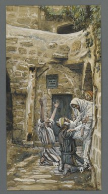 James Tissot (French, 1836-1902). <em>The Blind of Capernaum (Les aveugles de Capharnum)</em>, 1886-1896. Opaque watercolor over graphite on gray wove paper, Image: 10 1/2 x 5 3/8 in. (26.7 x 13.7 cm). Brooklyn Museum, Purchased by public subscription, 00.159.126 (Photo: Brooklyn Museum, 00.159.126_PS2.jpg)