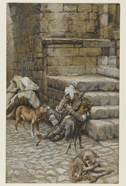 James Tissot (French, 1836-1902). <em>The Poor Lazarus at the Rich Man's Door (Le pauvre Lazare à la porte du riche)</em>, 1886-1894. Opaque watercolor over graphite on gray wove paper, Image: 10 3/4 x 6 11/16 in. (27.3 x 17 cm). Brooklyn Museum, Purchased by public subscription, 00.159.127 (Photo: Brooklyn Museum, 00.159.127_PS2.jpg)