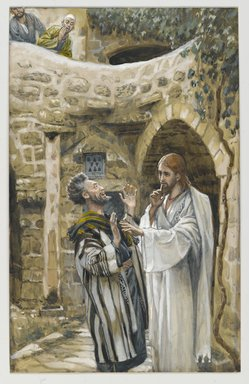 James Tissot (French, 1836-1902). <em>Jesus Heals a Mute Possessed Man (Jésus guérit un possédé muet)</em>, 1886-1896. Opaque watercolor over graphite on gray wove paper, Image: 9 13/16 x 6 3/16 in. (24.9 x 15.7 cm). Brooklyn Museum, Purchased by public subscription, 00.159.128 (Photo: Brooklyn Museum, 00.159.128_PS2.jpg)